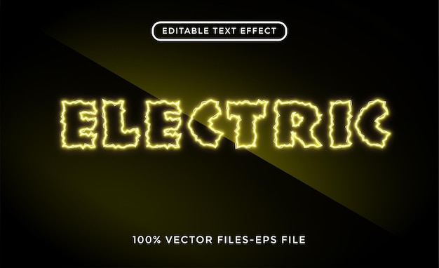 Electric editable text effect premium vectors
