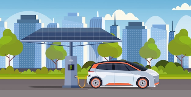 Electric energy car charging at station eco friendly vehicle carsharing concept modern cityscape background flat horizontal