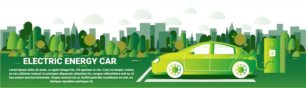 Electric energy car horizontal banner hybrid vechicle charging at station eco friendly auto concept
