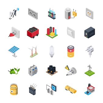 Electric energy icons set