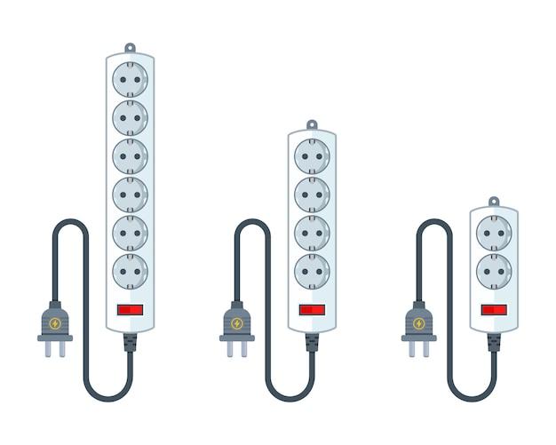 Электрический удлинитель для бытовой техники. набор удлинителей разной длины. плоский рисунок, изолированные на белом.