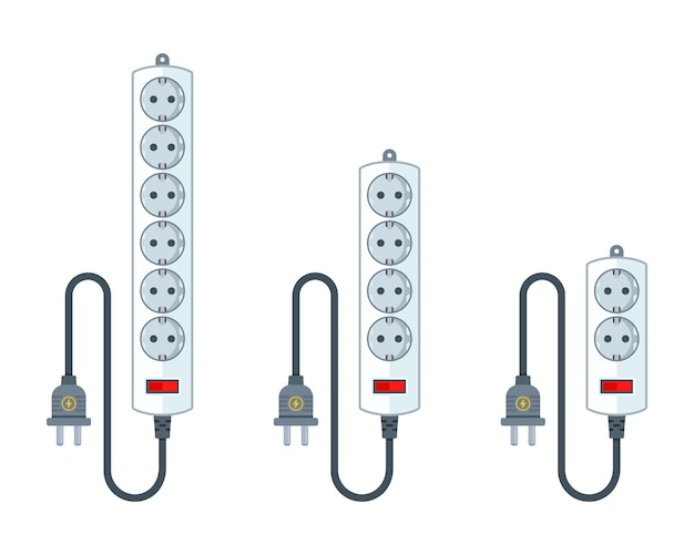 Electric extension cord for household appliances. a set of different extender lengths. flat illustration isolated on white.