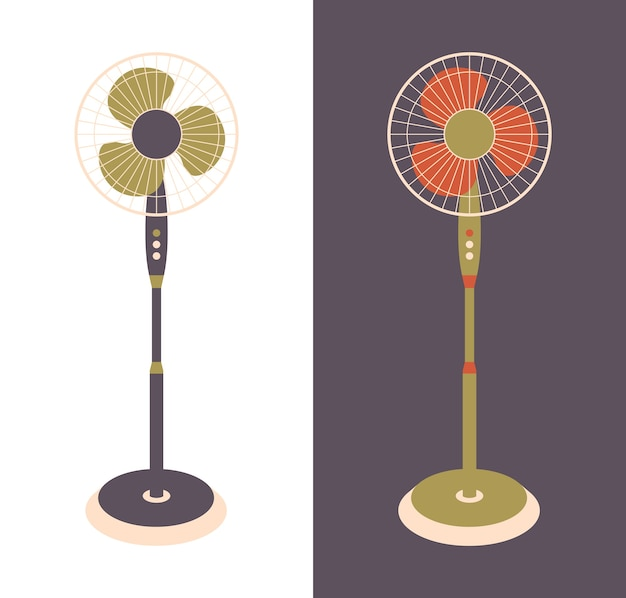Electric fan isolated on background. household devices for air cooling and conditioning, climate control. illustration in flat