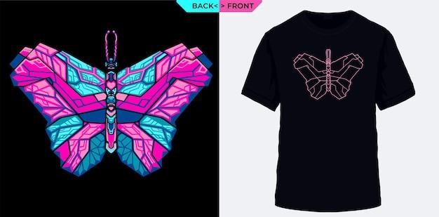 Tシャツのスクリーン印刷に適した電気幾何学的な蝶