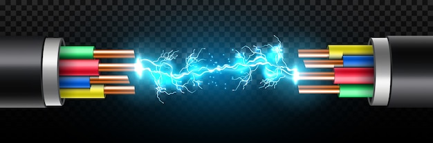 Electric glowing lightning between break cable.