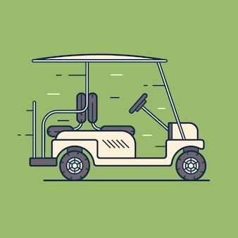 Электрический гольф-кар в движении. транспорт, изолированный
