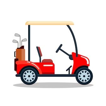 ゴルフクラブバッグ付きの電気ゴルフカー。輸送、白い背景で隔離の車両