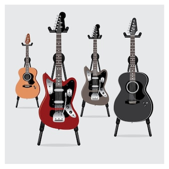 Electric guitar & acoustic guitar set with stand