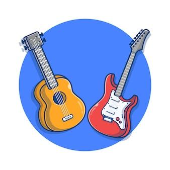일렉트릭 기타와 어쿠스틱 기타 만화 그림