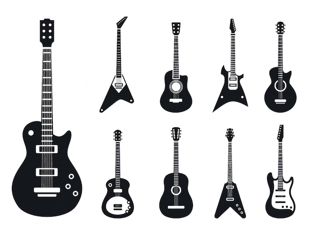 Electric guitar icons set, simple style
