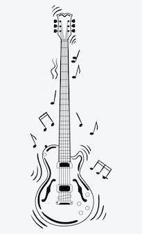 Электрогитара издает звук. черно-белая гитара с нотами. музыкальный инструмент.