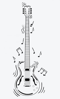 Electric guitar makes a sound. black and white guitar with notes. musical instrument.