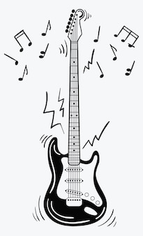 Electric guitar makes a sound. black and white guitar with notes. musical instrument. Premium Vector