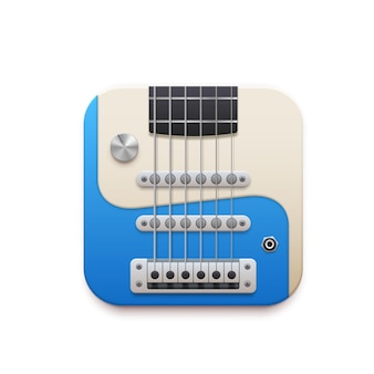 일렉트릭 기타 음악 앱 인터페이스, 3d 벡터 디자인 요소, 흰색 배경에 격리된 현과 튜너가 있는 악기. 오디오 플레이어 앱 아이콘, 모바일 애플리케이션 또는 웹사이트용 ui 그래픽