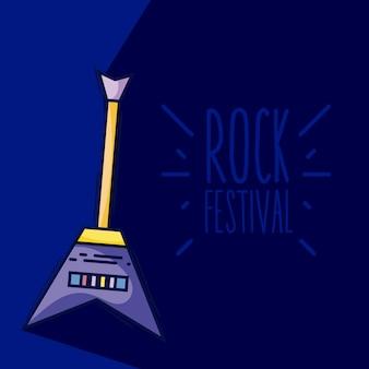 Electric guitar rock festival cartoon
