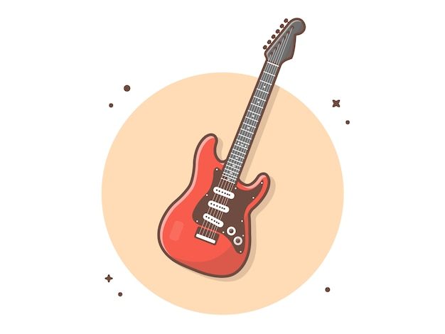 Electric guitar vector icon illustration
