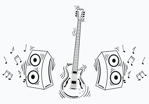 Электрогитара с акустической системой. иллюстрация гитары с примечаниями и звуком.