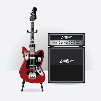 Electric guitar with guitar amplifier vector illustration
