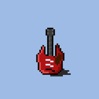 Electric guitar with pixel art styl
