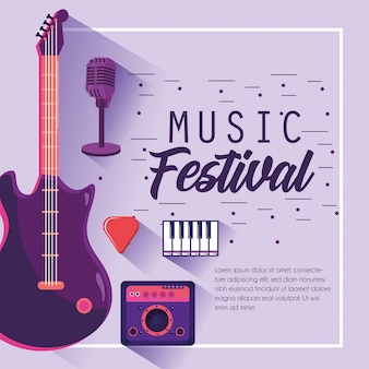 Electric guitar with radio to music festival celebration