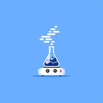 Электронагреватель и колба с голубой кипящей жидкостью