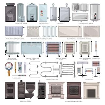 電気ヒーター漫画は、アイコンを設定します。白い背景のイラストボイラー。漫画セットアイコン電気ヒーター。