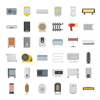 Electric heater device icons set