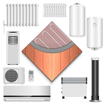 Electric heater icon set