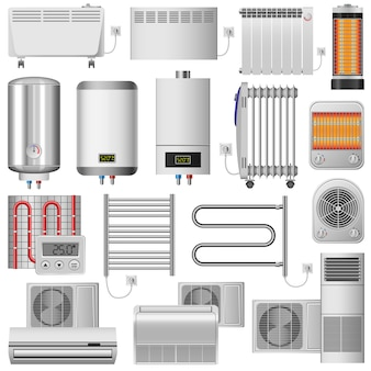 Electric heater radiator mockup set