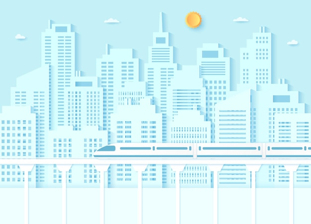 Electric highspeed train transportation cityscape building with blue sky and sunpaper art style