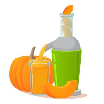 電気ジューサー。カボチャのフレッシュジュース。菜食主義者とビーガンのための野菜の健康的なライフスタイルのコンセプト。