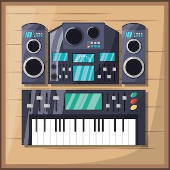 앰프 스피커 및 콘솔 음악이있는 전기 키보드