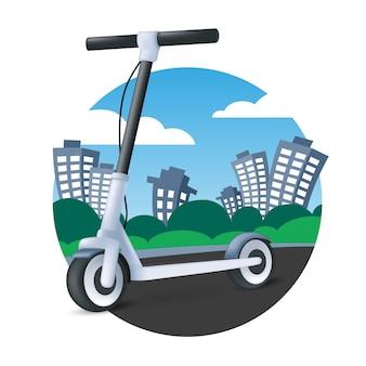 Электрический самокат на фоне городского пейзажа. значок современного автомобиля. 3d мультфильм векторные иллюстрации экологического транспорта