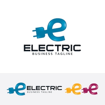 Electric letter e logo template