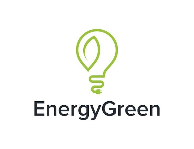 Электрическая лампочка и контур листа простой гладкий креативный геометрический современный дизайн логотипа