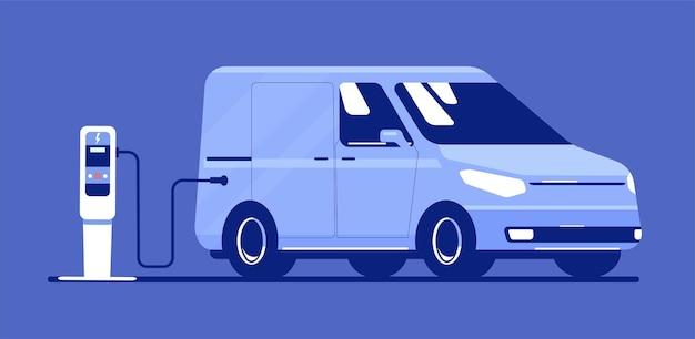 전기 가벼운 상업용 차량 절연입니다. 벡터 평면 스타일 그림입니다.