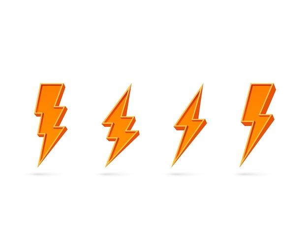 Электрическая молния, набор иконок на белой стене.