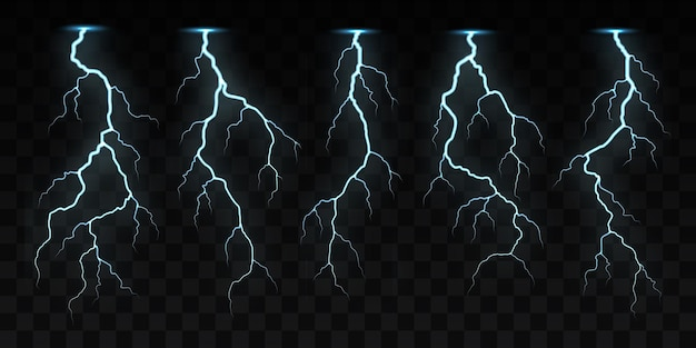 Electric or lightning strikes, flashes.