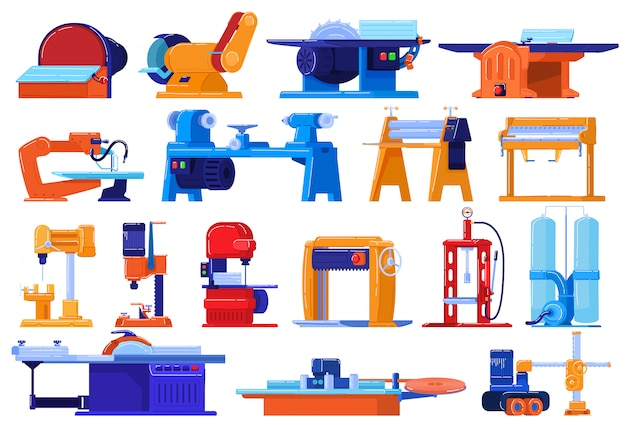 Electric machines, factory equipment set  on white, industrial plant manufacture,  illustration