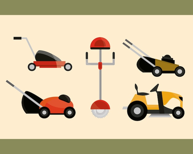 Electric and manual lawn mowers equipment collection illustration