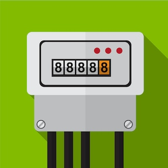 Electric meter flat icon illustration isolated vector sign symbol
