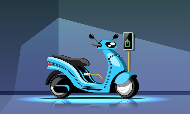 Electric motorcycle with power supply cable and plug