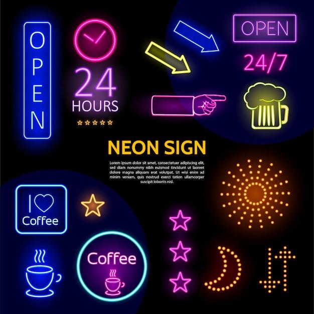 Modello di insegne al neon elettrico con iscrizioni colorate cornici frecce stelle di vetro di birra scintilla luna