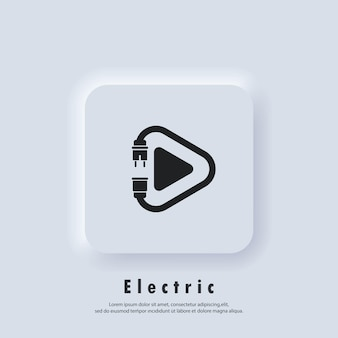 Electric play icon. plug. power cord. technology icons. vector eps 10. ui icon. neumorphic ui ux white user interface web button. neumorphism