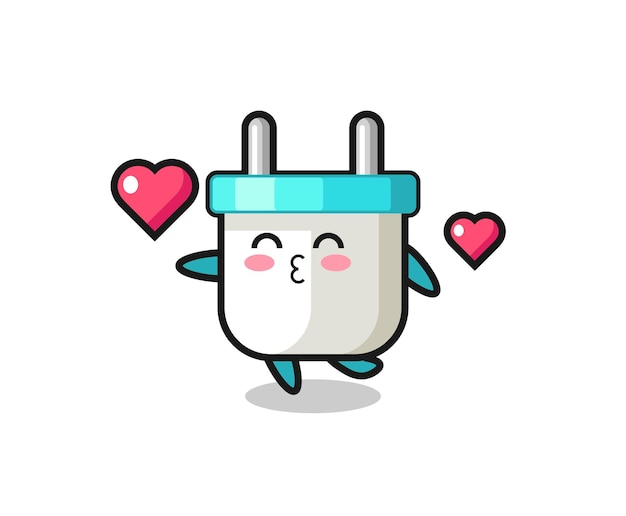 Electric plug character cartoon with kissing gesture
