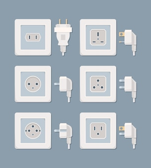 Electric plug. electricity collection american and european plugged wall socket vector flat pictures. plug electric, electricity power energy, collection socket illustration