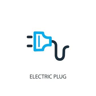 전기 플러그 아이콘입니다. 로고 요소 그림입니다. 2가지 색상 컬렉션의 전기 플러그 기호 디자인입니다. 간단한 전기 플러그 개념입니다. 웹 및 모바일에서 사용할 수 있습니다.