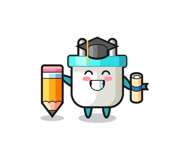 Electric plug illustration cartoon is graduation with a giant pencil