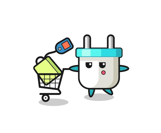Electric plug illustration cartoon with a shopping cart