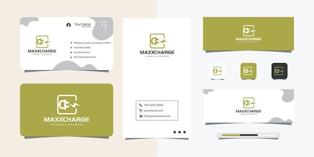 전기 플러그 로고 디자인 및 명함